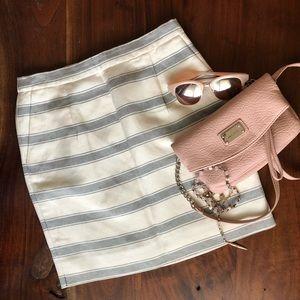 J. Crew Linen and Silk Striped Skirt